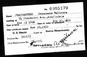 Francesco Amilcare Fraccastoro Naturalization Record
